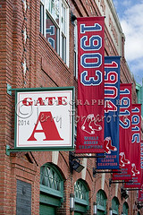 Fenway Park Gate A (Jerry Fornarotto) Tags: urban game sport boston tickets team gate play baseball outdoor stadium flag massachusetts sox entrance redsox flags arena recreation amphitheater fenway fenwaypark bostonredsox worldseries ticketbooth pennant jerryfornarotto