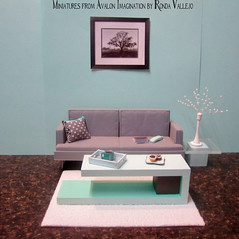 Modern 1/6th Scale Coffee table in cool mint shades and charcoal grey (wpnschick) Tags: barbiefurniture 16thscale playscale blythefurniture modernminiature