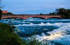 Niagara Bridge (arnabjosephite) Tags: usa moon canada color lights niagarafalls rainbow unitedstates unitedstatesofamerica towers crescent bnw niagarabuffalo