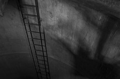The Ladder_JWA1261 (jonwaz) Tags: blackandwhite bw white abstract black abandoned blanco geometric monochrome lines alley nikon europa y sweden negro staircase walkway tower r water jonwaz