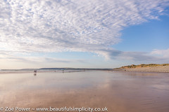 Beautiful evening light at Westward Ho! beach in North Devon, UK (Zo Power) Tags: uk sea sky seascape beach water clouds reflections sand space beautifullight devon goldenhour eveninglight bigskies westwardho fluffyclouds