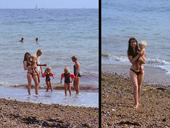 Brighton Beach 1983 (jonathan charles photo) Tags: holiday art beach topf25 beauty photo brighton jonathan daughter mother charles bikini