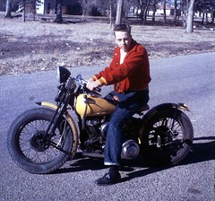 Life in Kansas - Motorcycle - Color Slide about 1960 (Mike Leavenworth) Tags: color vintage fork slide 45 harley motorcycle hd springer davidson flathead wl wla
