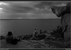 Picnic (AnimeshHazra) Tags: friends blackandwhite india lake water monochrome rain clouds rocks picnic monsoon layers hyderabad telangana himayatsagar