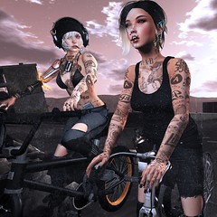 Girls like girls (Flit Ulrik // Agent Orange) Tags: life road sky game love girl face bike bicycle tattoo female clouds lesbian video bmx ride post mesh body head avatar rip suicide apocalypse emma expressions sl jeans bikini secondlife second date ro nikita phones oblivion apocalyptic visage remarkable enhancement dystopia apoc bolson fitted maitreya slink monoso dylain