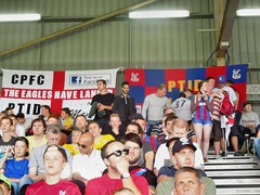 Palace supporters at Fulham (Paul-M-Wright) Tags: uk london football crystal stadium flag soccer cottage saturday ground august palace flags 01 friendly match fans fulham craven supporters versus ffc preseason 2015 cpfc