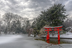 Winter at the Koi Pond (HorsePunchKid) Tags: brooklynbotanicgarden japanesehillandpondgarden torii hdr luminancehdr gothamist seenongothamist