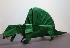 Origami Dimetrodon (Tankoda) Tags: fumiaki kawahata green foil japanese colored origami dimetrodon paper art travis nolan permain pelycosaurs