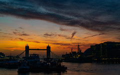 London Silhouette (Aleem Yousaf) Tags: photo sunrise uk london tower bridge river thames golden hour sky clouds architecture historic monument silhouette wideangle nikon d800 morning walk more city hall cityscape hms belfast boats bascule suspension iconic