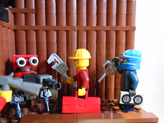DSCN3847 (Mightyslickpancake) Tags: lego team fortress 2 heavy medic demoman soldier scout pyro spy engineer sniper ctf tf2 capture flag red vs blue hats