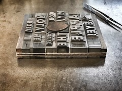 Metal type forme for our Holy Moly, Me Oh My!' letterpress Valentines card. (typoretum) Tags: valentine valentines heart letterpress card greeting love wood type woodletter metal granby extrabold inline justinknopp typoretum
