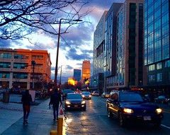 Rainy day where sun is finally peeking through (ole_G) Tags: boston longwood fenway prudential rainy cloudy dusk bluehour