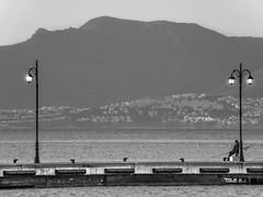 Waiting For... Something (Tassos Gi.) Tags: kos black white greece bw sea lights island fishing