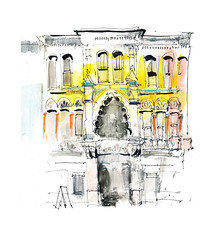 High Street Arcade (_jondixon) Tags: city uk urban wales pen pencil sketch cardiff watercolour