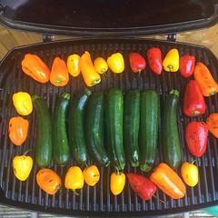 Grilling veggies.