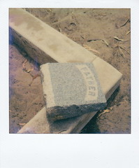 Broken Bond (deep_blue_sea_1956) Tags: abandoned cemetery forgotten marker relic impossible oxnard graver polaroidslr680 huenememasoniccemetery pioneer600gen2