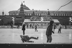 Falling (bluesteel44) Tags: skate ice skating fall black white candid