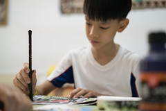 20160730_Caligraphy with Grandpa-19 (kiweep7) Tags: calligraphy brushpen grandparents