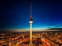 Alex ParkInn Night (NicoTrinkhaus) Tags: berlin germany alexanderplatz fernsehturm tvtower tv tower square night nightphotography bluehour colourful lights lighttrails hdr hdrphotography