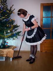 Christmas cleanup (blackietv) Tags: maid dress gown black white satin petticoat lace apron christmas tree tgirl transvestite crossdresser crossdressing kitchen transgender