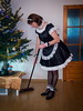 Christmas cleanup (blackietv) Tags: maid dress gown black white satin petticoat lace apron christmas tree tgirl transvestite crossdresser crossdressing kitchen transgender