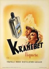 KRANEBET liquore (OldAdMan) Tags: italian italy oldadman old oldadvertisements oldadverts oldposters vintage posters colour illustration kranebetliquore fratellirossidistillatori asiago