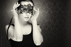 Ballerina with mask (Tommy Høyland) Tags: portrait face desire romantic bnw young cover one model sensuality indoor female attractive tattoo studio victorian beautiful hidden sensual woman mask bw makeup beauty human ballerina black white photo blackandwhitephoto