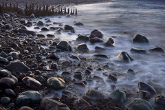 The teeth of Porlock Weir (marcwilson6) Tags: porlockweir porlock beach stones breakwater groyne atlantic severn estuary somerset england english evening dusk dark longexposure mist fog blurred water landscape horizontal