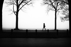 CologneDeutzRhineLadyAgainstMist (bschaefers) Tags: streetphotography blackandwhite cologne