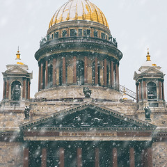 Saint Isaac's Cathedral. St. Petersburg (andrey-ivanoff) Tags: view snowfall landmarks winter church cloudy basilica saintpetersburg city russia saint facade structure cold new isaac scene peterburg cathedral national travel petersburg orthodox st architecture museam isaacs russian places snow sanktpeterburg ru