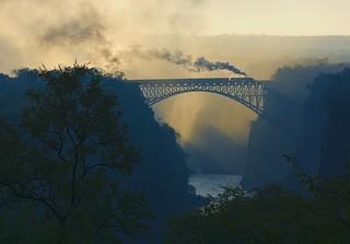 Victoria Falls bridge sunrise