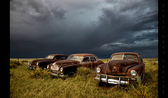 The Light Before the Darkness (Whitney Lake) Tags: cars abandoned junk colorado antique decay rusty kaiser prairie automobiles frazer