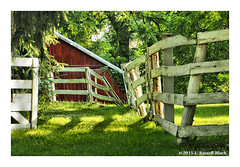 Mending Fences (TooLoose-LeTrek) Tags: red white abstract lines barn fence farm angles curvedlines em5markii omdem5ii warpedlines