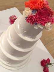 White & Flower Burst Wedding Cake
