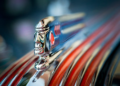 Chief Pontiac (explored) (Kevin Rodde Photography) Tags: red macro canon illinois gm indian nativeamerican chrome pontiac hoodornament americanindian westmont 6d generalmotors rodde chiefpontiac 24105mm businesscoupe kevinrodde kevinroddephoto kevinroddephotography 1937pontiacbusinesscoupe westmontcruisin'nights