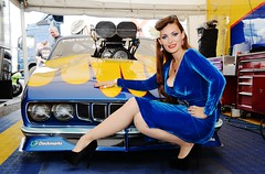 Holly_9659 (Fast an' Bulbous) Tags: promodified plymouth cuda fast speed power drag race strip track pits racecar motorsport girl woman model pinup chick babe hot sexy hotty blue velvet dress wiggle high heels shoes stilettos stockings santa pod eurofinals doorslammer long brunette hair legs