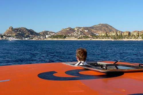 Driving a Tender (boat) Via the Sunroof at Cabo San Lucas, Mexico