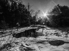 Sunflare Over A Small Pond  *Explore* (John Kocijanski) Tags: sunflare sun sky blackandwhite winter snow pond water forest canon1022mmlens landscape