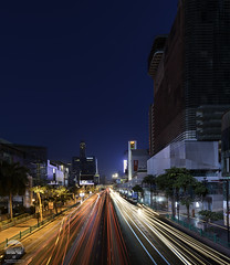 Thanon Ratchadamri (kenneth chin) Tags: verticalpanorama digitalblending skyline road outdoor architrcture night nikon d810 nikkor 1424f28g bangkok thailand city asia lights trail yahoo google