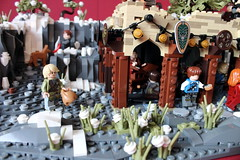 Look who is coming home (noggy85) Tags: 9kingdoms 9reiche neun nine christmasiscoming christmastree salesman husband handelsstation snow schnee weis white berge mountains lego moc dwarfs zwerge dog hund tradingstation banket buffet festmahl karren wagen minifigs minifiguren kurvenheim