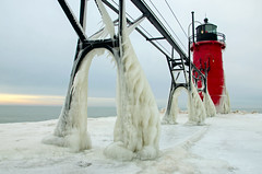 South Haven Iced (Tom Gill.) Tags: lighthouse pier frozen ice michigan lake lakemichigan greatlakes southhaven lighthousetrek