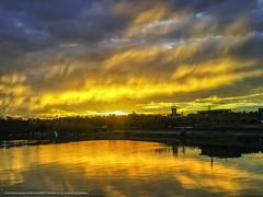 清水琉璃光 (*KUO CHUAN) Tags: 風景 日出 反射 水面 鏡相 火燒雲 天空 冬山河 宜蘭 五結 釣魚
