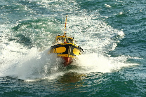 Pilot Boat Sailing Out to Sea Port Chalmers New Zealand