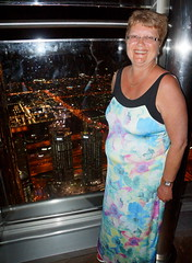 Lynne with high views (Andy Coe) Tags: dubai burj khalifa elevator 124th floor observation deck platform high views night long exposure dark jewels lights people lifts fountain display water