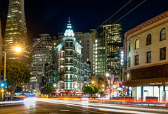Night fun at the Flatiron (Sentinel) (JohnNguyen0297 (slowly catching up)) Tags: flatiron sanfrancisco sentinel building downtown china town a6000 ilce6000 johnnguyen0297 lighttrails lightstreaks longexposure columbustower