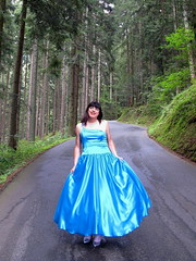 Skirt show (Paula Satijn) Tags: satin silk shiny gown dress skirt girl lady forest blue elegant beauty ballgown classy outdoor nature girly feminine tgirl transvestite woods trees silver pumps heels smile tranny
