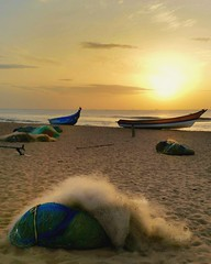 Chennai rise (ossington) Tags: india sunrise fishingboats tamilnadu desolate fishinggear quiet color hazy summer