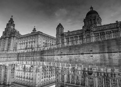 Reflection Flip Flop (stephenbryan825) Tags: liverpool portofliverpoolbuilding royalliverbuilding architecture buildings canal dome reflection selects threegraces water