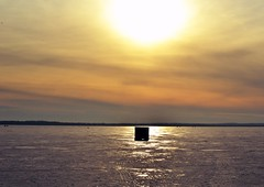 Sunset on the Lake (andrew_analore) Tags: winter ice fishing icefishing sunset orange dawn pensive frozen