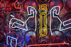 """Winter Window 2017"" (Eric Flexyourhead) Tags: vancouver canada britishcolumbia bc mainstreet downtowneastside dtes city urban detail fragment shop store window display art artwork installation chrome hubcaps wheelcovers neon kengerberick janiscorrado sonyalphaa7 zeisssonnartfe35mmf28za zeiss 35mmf28"